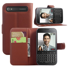 Litchi Texture Leather Case for Blackberry Classic Q20 Flip Magnetic Cover Case Wallet Stand Style With Card Slot
