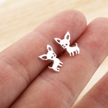 Jisensp New Arrival Chihuahua Earrings for Women Cute Dog Studs Chihuahua Jewelry Love my Pet Jewelry Animal Earring bijoux E173