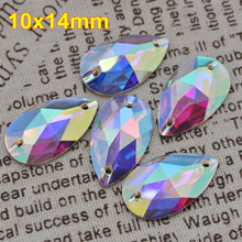 Free Shipping, 100pcs/Lot, 10*14mm Crystal AB / Clear AB sew on resin stones flat back sew on teardrop beads