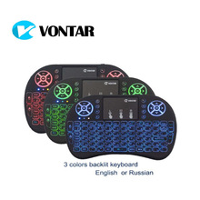 VONTAR Backlight i8 English Russian Spanish 2.4GHz Wireless Keyboard Air Mouse Touchpad Backlit for Android TV BOX Mini PC(China)