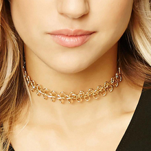 W-AOE 2017 New Brand Simple Vintage Sexy Choker Necklaces For Women Girl Gold Plated Chain Collar Choker Necklace Christmas Gift
