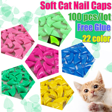 100pcs/lot Soft Cat Pet Nail Caps Control Pets Silicon Nail Protector cat Claws Paws free Adhesive Glue Size XS S M L(China)