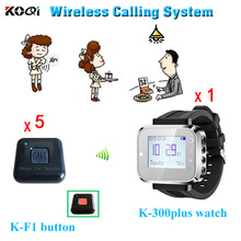 Personal Usage Wireless Waiter Call Button Watch Pager 1 Watches and 5 Service Button(China)