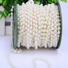 20m Cotton Line Artificial Pearl Beads String Chain Spools 3mm 4mm 5mm 6mm 8mm 10mm Wedding Party Decors Festival House Curtain