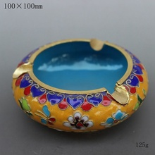The characteristics of Beijing China wind technology gift genuine fetal copper filigree Enamel Cloisonne ashtray yellow