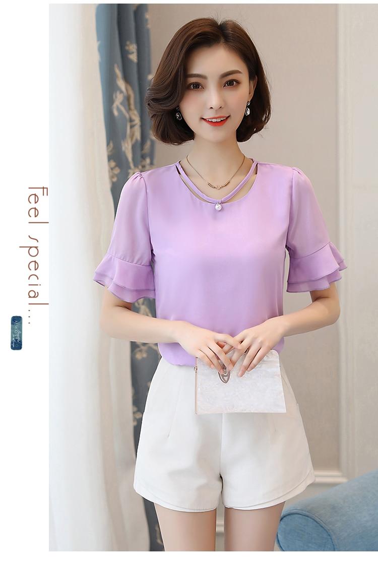 d56648356f3 2019 Summer Chiffon Shirt Womens Tops And Blouses Short Sleeves ...