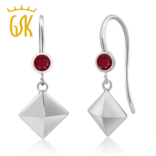 2017 hot-sale classics geometrical shape hooked eardrop 0.28 Ct Round Red Ruby 925 Sterling Silver Pyramid Earrings women gift