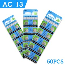 Hot selling 50 Pcs AG13 LR44 357A S76E G13 Button Coin Cell Battery Batteries 1.55V Alkaline EE6257