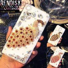 Beautiful Peacock Diamond Rhinestone Crystal Back case cover For Sony Xperia M5 E5603 E5606 E5653 Crystal  cases
