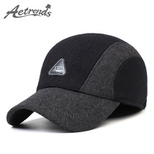 [AETRENDS] 2017 New Spring Autumn Woolen Baseball Caps for Men Russian Warm Hats with Earflaps Z-5003()
