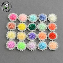 Shining Flatback Flower Resin Silver Brass Rhinestone Cabochon Settings, with Grade A Crystal Rhinestones, Mixed Color, 16x5mm(China)