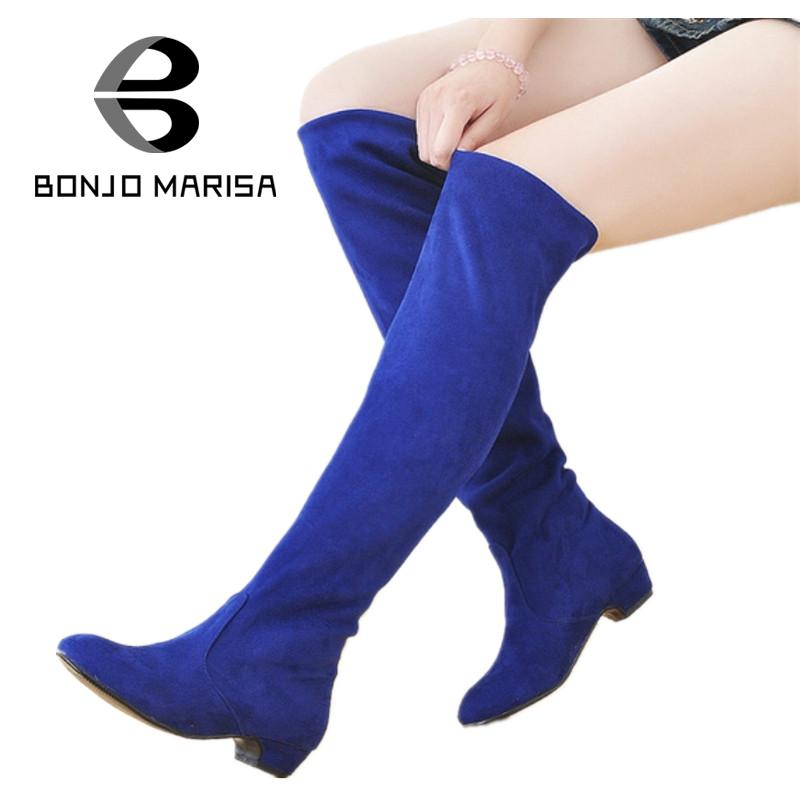 BONJOMARISA Big size 34-43 Women Over Knee High Boots Sexy hunky Heels Women Shoes Casual Dress Fashion Shoes Round Toe Boots<br><br>Aliexpress