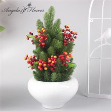 Artificial flower Christmas pine needles and fruit the new type fake plant wedding decoration for home Christmas essential decor(China)