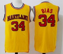 #34 LEN BIAS 1985 MARYLAND TERPS BASKETBALL JERSEY white,yellow,Stitched Rev30 Jersey, custom any name,number and sizes