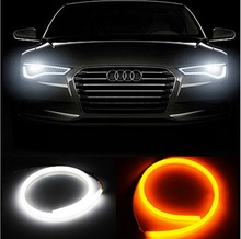 1 pair 60CM DRL TUDE Changeable DRL Strip LED Daytime Running Light Turn Signal LED Tube Light White Yellow Switchback DRL light