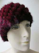 free shipping /Real mink knitted woman's hat /see picture purple(China)
