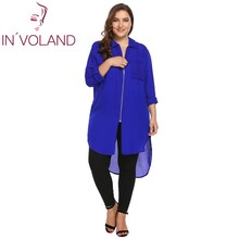 IN'VOLAND Women Chiffon Blouse Blusas Tops Large Size Autumn Roll Up Sleeve High Low Hem Loose Shirt Zip Up Pullover Plus Size(China)