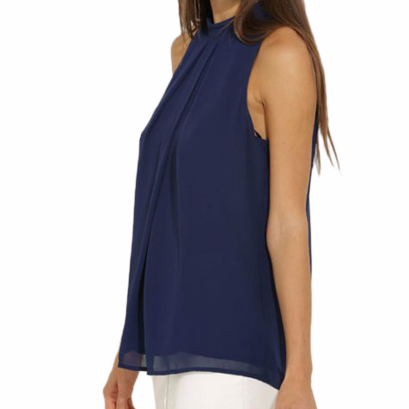 Women Chiffon Back Hollow Blouses Fashion 2017 New Beach Summer Sleeveless Tops Elegant Pleated Blusas Femininos Plus Size M0173 3