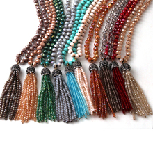 Fashion Bohemian Tribal Jewelry Glass Knotted Crystal Tassel Necklaces For Women Ethnic Necklace(China)