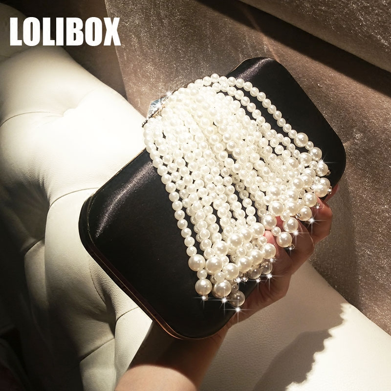 LOLIBOX Women Day Clutch New Tassel Pearl Diamond Bride Box Dinner Bag Party Chain Shoulder Bags Ladies Evening Bags<br>