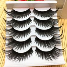 5Pairs/Set Charming Black False Eyelashes Very Exaggerated Thick Long Black Eye Lashes Daily & Party Makeup Extension Tools