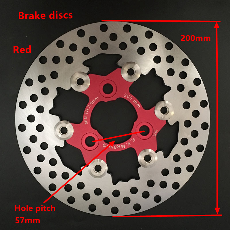 1 PCS Universal Aluminum alloy Floating disk motorcycle brake disc brake pads 200mm motorcycle rear disc brake Hole pitch 57mm<br>