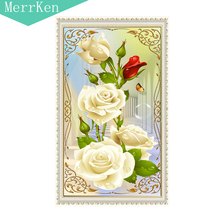 5d Diy diamond painting cross stitch   Porch rose diamond embroidery diamond mosaic animal home decor 30x55cm