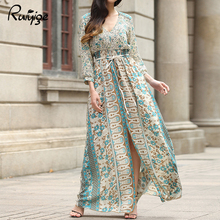 Ruiyige 2017 Women Sexy Ladies Slim Long Maxi Dress Long Sleeve V Neck Chfifon Printed Summer Floral Empire Floor Length Dress