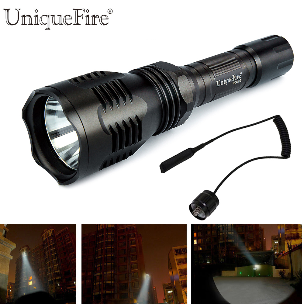 UniqueFire HS-802 Cree XML T6 Powerful Flashlight 10W Zoom 5 Modes Led Light 1200 Lumens Waterproof Lamp Torch+Remote Pressure <br>
