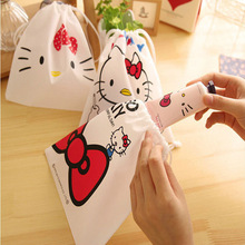 Cartoon Makeup Bag Hello Kitty Bunched Cosmetic Bag Cute Small Drawstring Storage Makeup Organizer Travel Necessaire Pouch