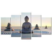 5 Panel Wall Art Buddha Head Statue HD Picture Poster Home Decor Canvas Artwork Paintings Contemporary Art Modern Giclee Print