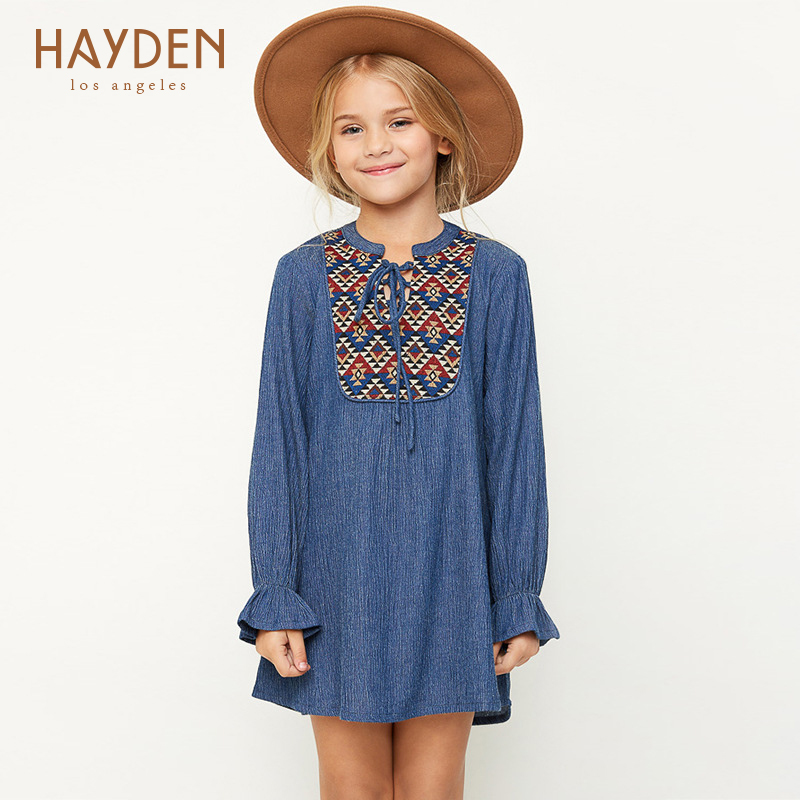 girls party dresses long sleeves casual denim costumes 6 8 10 11 years teenage girls clothes fancy infant children clothing 12Y<br>