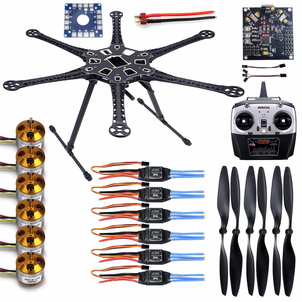 DIY HMF S550 F550 Upgrade Helicopter 6-Axis Frame Kit Drone with Landing Gear ESC+Motor+KK V2.9 Board+Radiolink RX&TX Propeller