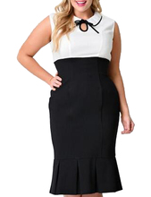 Plus Size Cocktail Xxl 3Xl Mermaid Bodycon Office Casual Work Black And White Patchwork Wiggle Dress Peter Pan Collar High Waist