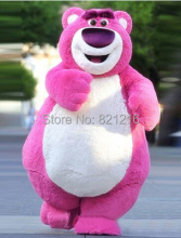 EMS Free Shipping Outfit Costumes Suit Pink Bear Cartoon Mascot Costume For Adults Despicable Me Show
