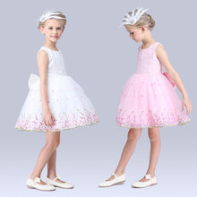 Fashion 2017 Tutu Embroidery Children Toddler Flower Girls Dresses Summer Casual Kids Clothes Princess   L76WX