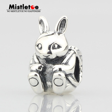 Animal Easter Bunny Charm Bead Authentic 925 Sterling Silver Fit Brand Original Bracelet Jewelry(China)