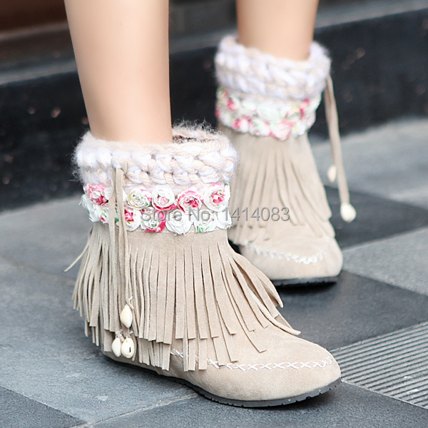 South Korea flower adornment style winter warm ankle boots hemp rope weaving tassel boots increased women boots big size 34~43CN<br>