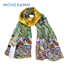 "Mohekann 100% Silk Oblong Scarf Wrap Shawl Van Gogh's Famous Oil Painting Art Works -""Irises"" 1890 Hand Rolled Hems"