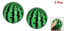 "SODIAL(R) Child Foam Squeeze Stress Sponge Green Black 2.3"" Dia Watermelons Ball Toy 2 Pcs(China)"