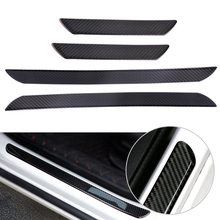 DWCX 4pcs Black Carbon Fiber Door Step Sill Anti Scratch Cover Car Styling Decorations Scuff Plates Protect Trim Guard(China)