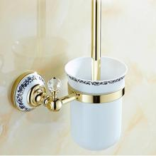 Brass & Crystal Toilet Brush Holder,Classic Plated Toilet brush Bathroom Products New Arrivals Cleaning Brush(China)