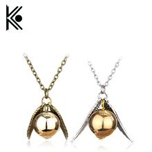 Free Shipping New Fashion hogwarts jewelry Vintage Woman Lady Silver Wing Gold Golden Snitch Necklaces & Pendants(China)