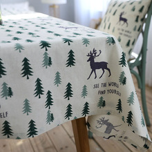 Linen Christmas Table Cloth Pastoral Green Tree And Elk 60x60-140x250cm Manteles Tablecloths Rectangular Tablecloth Table Cover