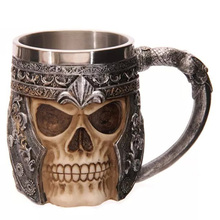 350ml Personality 3D Skull Coffee Mug Cup Stainless Steel Cool Beer Milk Tankard Novelty for Halloween Gift Decoration
