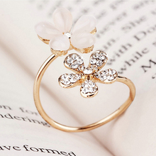 1Pc Elegant Double Daisy Flower Ring Rhinestone Adjustable Open Ring Jewelry