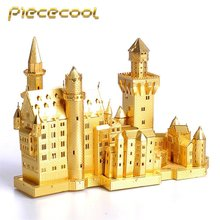 "Piececool 3D Metal Puzzle of ""New Swan Neuschwanstein Castle"" Gold & Silver 3D DIY Famous Building Model Kits for Big Kids Gifts(China)"