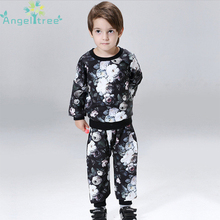 Angeltree Boys T-shirt Children's Clothing Autumn Spring Flower Print Pattern Kids Clothes Boys Trousers Sets Outerwears JSB203(China)