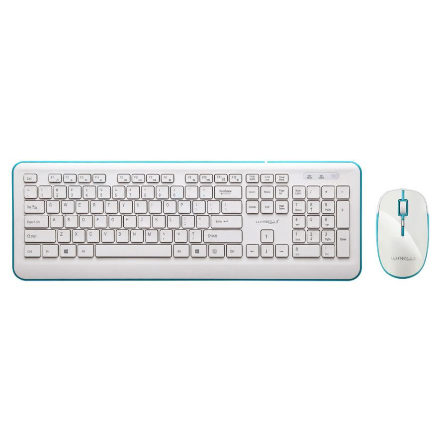 Warwolf New 24g Mini Wireless Keyboard And Optical Mouse Combo Keybiard Black For Desktop Pc 18jun06