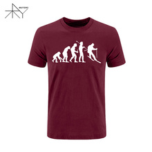 Summer 2017 New Evolutionss of T Shirt Men Funny Cool T Shirt Man's Cotton Short-Sleeve T-shirt Evolution of Skiingging(China)